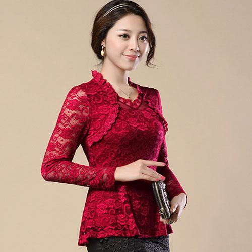 M-4XL New Fashion 2018 Spring Noble Women Hollow lace   blouse     shirt   long-sleeve Lace   shirt   female Plus size lace Tops blusas