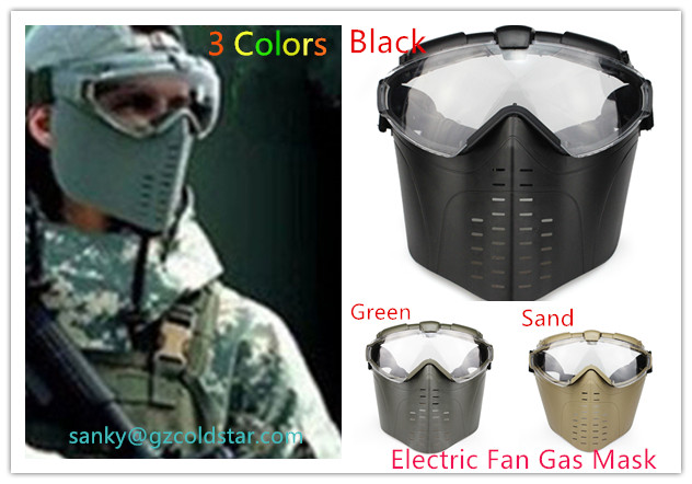 1pc Full Face Electric Fan Gas Mask W/ Goggle Outdoor CS War Game Anti-Fog Ventilated Tactical Hunting Paintball Airsoft Goggles
