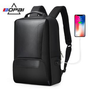 Image 1 - BOPAI 2018 Men Laptop Backpack 15.6 Inch Daily Work Backpack Men Black Leather Schoolbag High School back pack mochila escolar