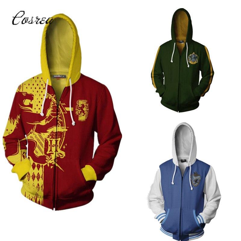 Harri Potter Hogwarts School Tracksuit for Boys Costume Zipper 3d Hoodies Sweatshirts Cropped Hoodies for Men Cosplay Halloween