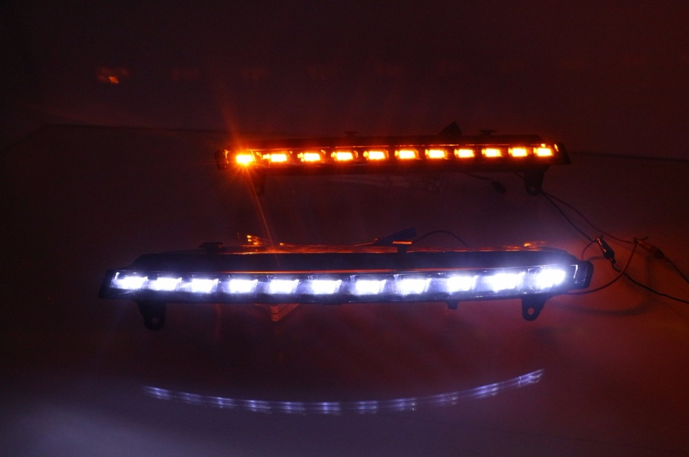 1 Set car LED DRL daytime running light lamp with yellow flicker turn signals for Audi Q7 2006-2009