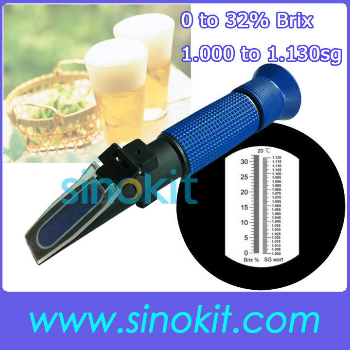 Brix 0 to 32% Beer 1.000 to 1.130sg Hand-held Plastic Material Refractometer P-RSG-100ATC Blue  цены