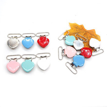 Chenkai 50PCS/lot 1 25mm Heart metal suspenders soothers holder clips for baby Shower dummy pacifier Chain Lead Free