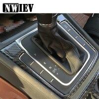 NWIEV Car Styling Stickers For Volkswagen VW Golf 7 GTI R GTE GTD MK7 2017 2013 2014 2015 2016 Carbon Fiber Gears Shift Panel