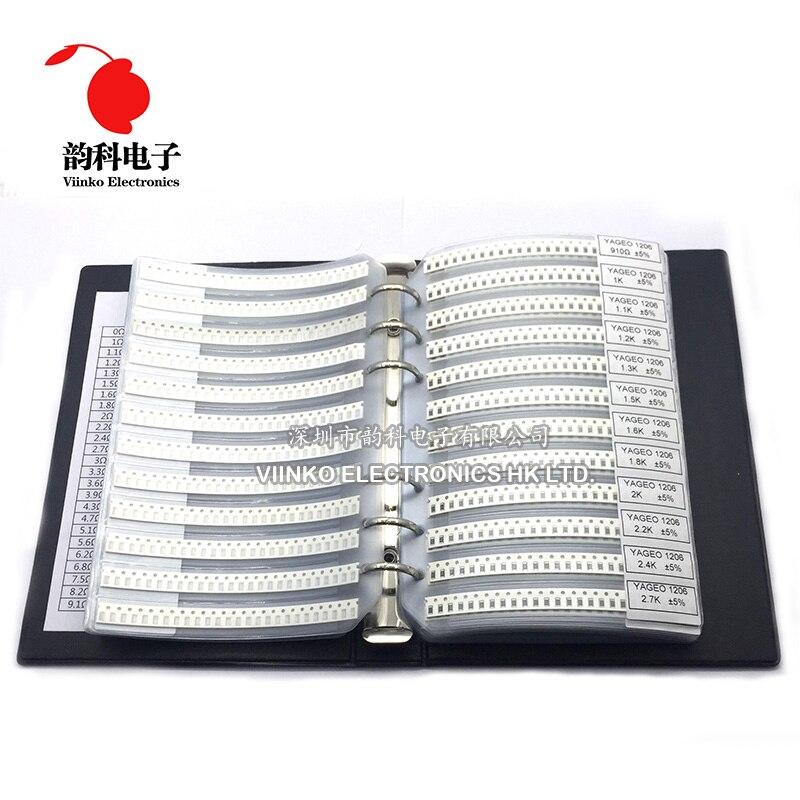 1206 5% SMD Resistor Sample Book 1/4W 0R-10M 170valuesX50pcs=8500pcs Resistor Kit 0R~10M