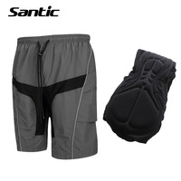 Santic Men Cycling Shorts Leisure Baggy Loose Downhill MTB Shorts COOLMAX 3D Padded Mountain Bike Shorts