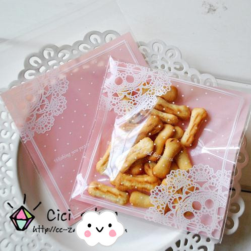 100 Pcs/lot Romantic Pink Lace Biscuit Packaging Bag Clear Cookie Packing Plastic Candy Bags For Wedding 7cm*7cm