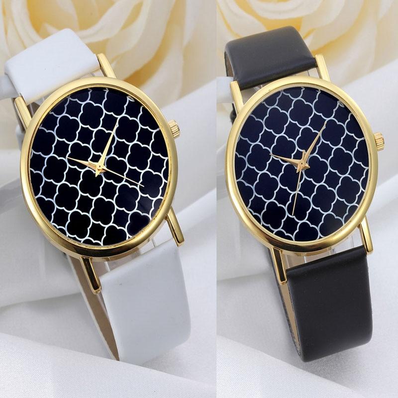 1 Fashion Casual Watch Women Geometry Pattern Quatz Strap Leather Watches Relojes Mujer 2016 Relogio Feminino Wristwatches Clock