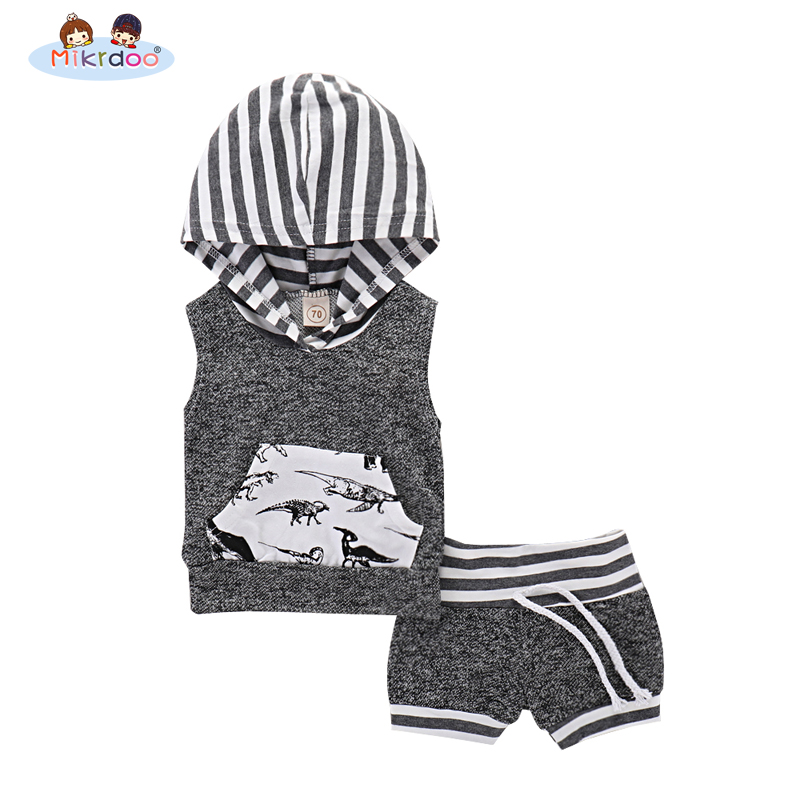 Baby boy clothes 2018 Cute Infant Baby summer Boy print black T-shirt Tops+Pants Outfit baby boy sleeveless Clothing Set