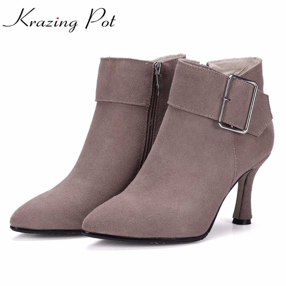 Krazing Pot 2018 cow suede fashion winter boots pointed toe thin high heels zipper buckle office lady handmade ankle boots L63 krazing pot cow suede real leather autumn winter pointed toe buckle thick high heels women office lady tassel ankle boots l05
