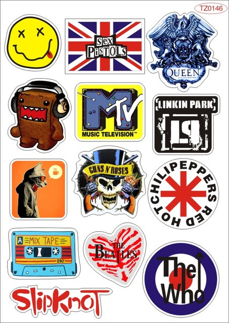 Pop rock music band logo pvc waterproof sunscreen stickers luggage suitcases guitar skateboard laptop stickers car