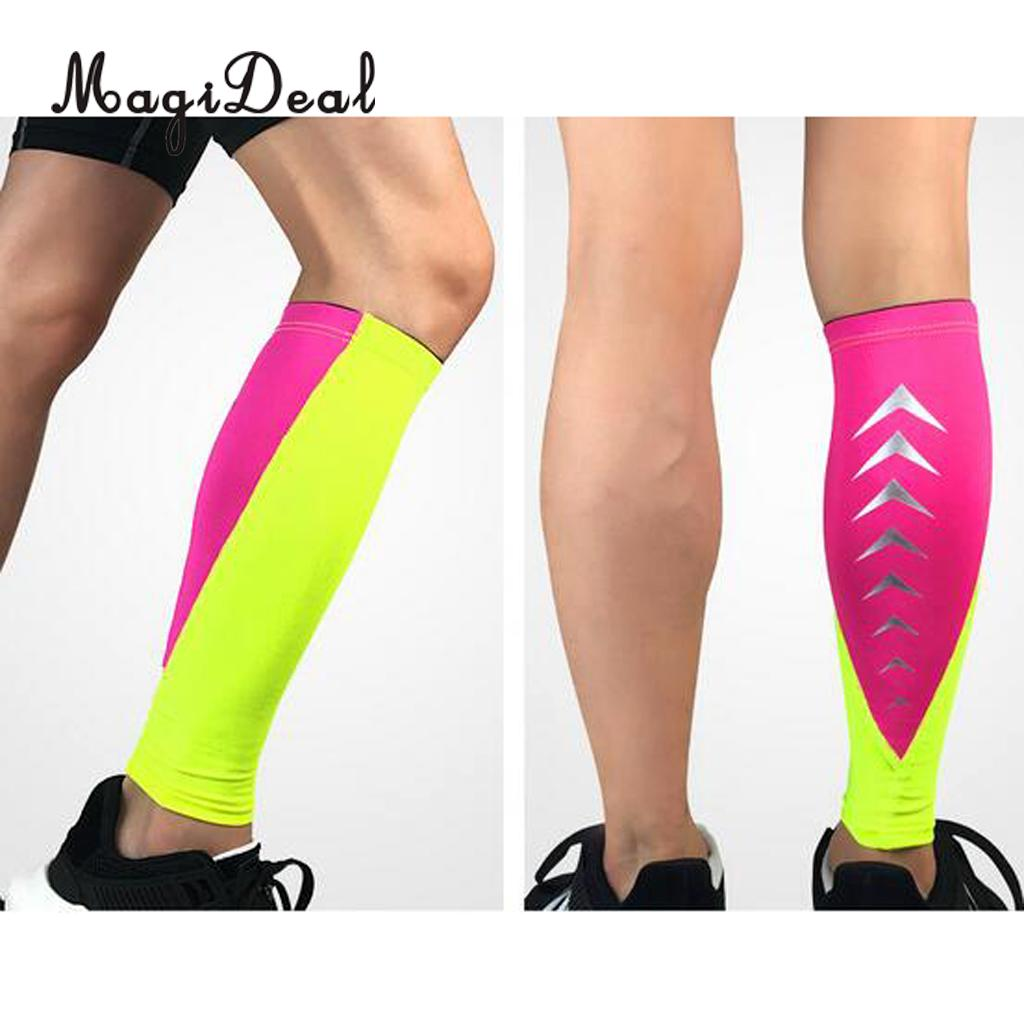 MagiDeal 2 Pcs Running Compression Leg Sleeves Leg Stretch Socks M Rosered and Green