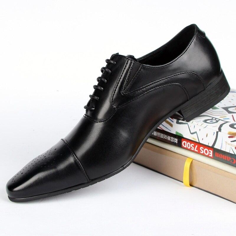 Роскошные мужские официальные туфли из натуральной кожи с острым носком; высококачественные Мужские модельные туфли оксфорды из коровьей кожи; размеры 38 48 - 3