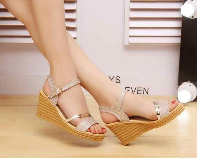 fc62c5f181 ... 2018 Summer Gold Women Sandals Fashion High Heels Bling Buckle  Gladiator Sandals Platform Wedge Shoes women ...