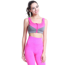 Women Sports Bra Racerback Running Gym Yoga Fitness Front Zip Workout Tops Tank