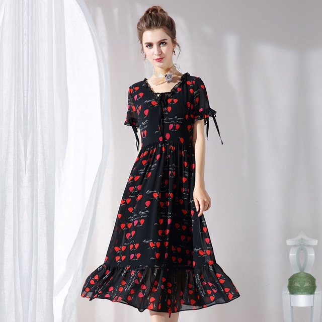 New 2018Summer Fashion ladies printed long chiffon dress V-neck temperament  elegant empire beach dress casual vestidos L-XXXXXL 32abe328fa9e
