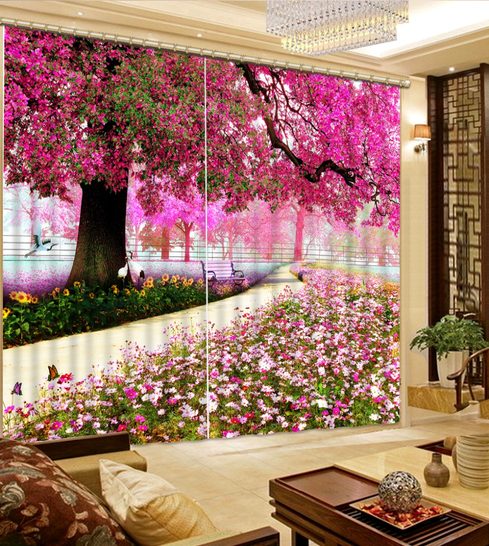 Window Treatments 3D Curtains Blackout Shade Curtains For Living Room Bedroom Thick Polyester/Cotton Drapes Roamtic Cherry Decor