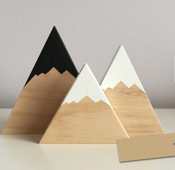 3pcs Set Nursery Woodland Wood Blocks Toys Kids Wooden Mountain Craft Decorative Bookends Stands Baby