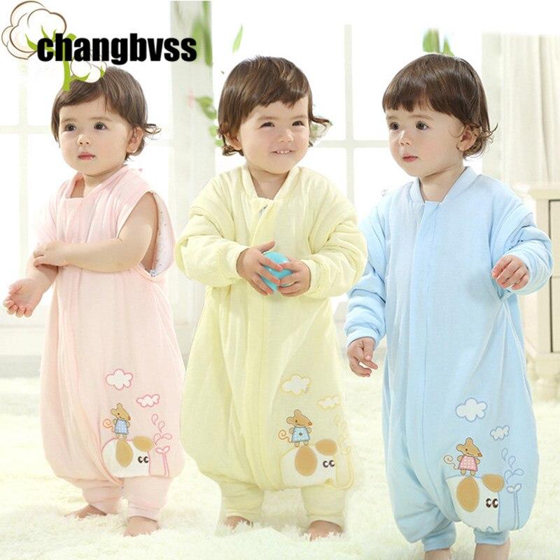 Destacável manga meninos meninas do bebê crianças saco de dormir do bebê algodão sacos de dormir outono inverno crianças cobertores saco de dormir