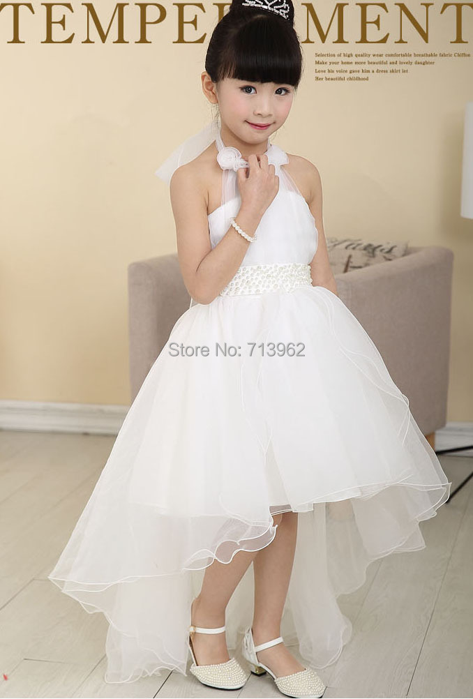 Free Shipping Sg654 White Princess Long Tail Flower Asymmetric Kids Formal Evening Dress In Dresses From Weddings Events On