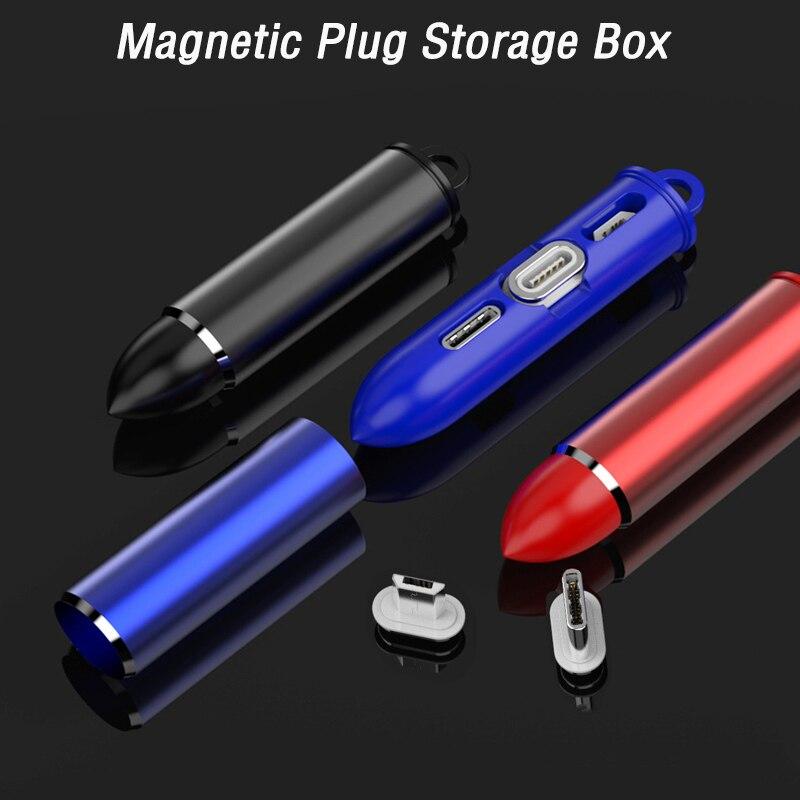 Offen Tragbare Magnetische Kabel Stecker Lagerung Box Anti-verloren Magnet Adapter Usbc Chaging Kabel Stecker Box Für Micro Usb Typ C 8 Pin Neueste Technik