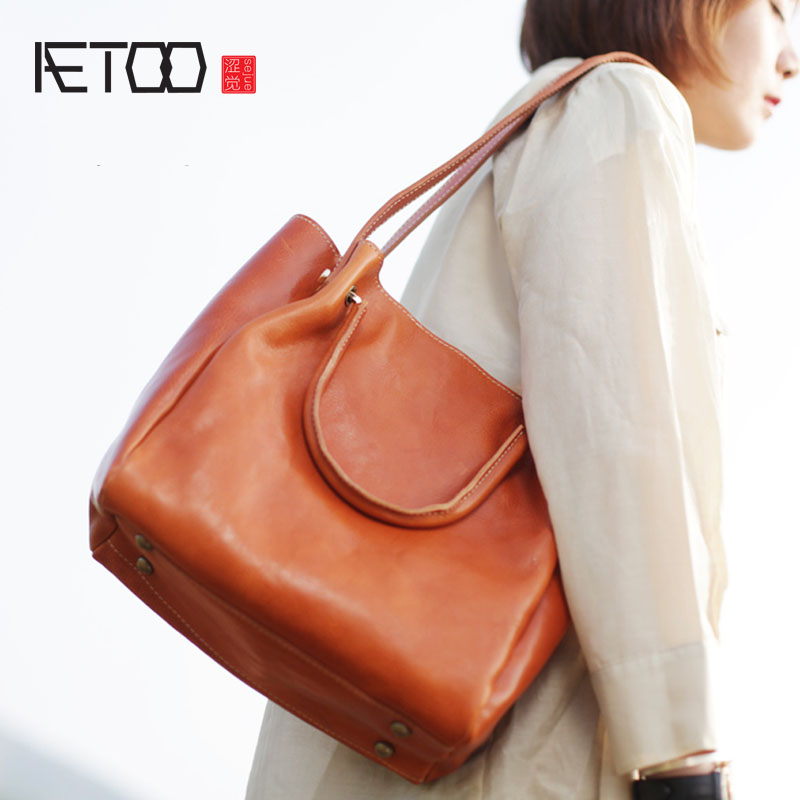 AETOO Large-capacity first layer cowhide tote bag leather large-capacity shoulder Messenger bag art retro handmade leather aetoo spring and summer new leather handmade handmade first layer of planted tanned leather retro bag backpack bag