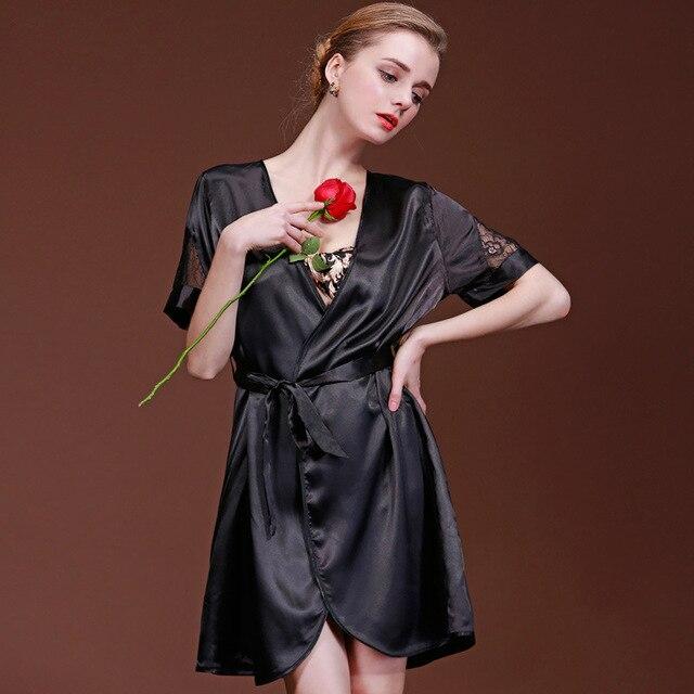 12a2a505fb3 RB0125 Brand Women Nightgown Black Bathrobe Gown Ladies Satin Silk Robe  Short Lingerie Nightie Female Sexy Lace V Neck Sleepwear