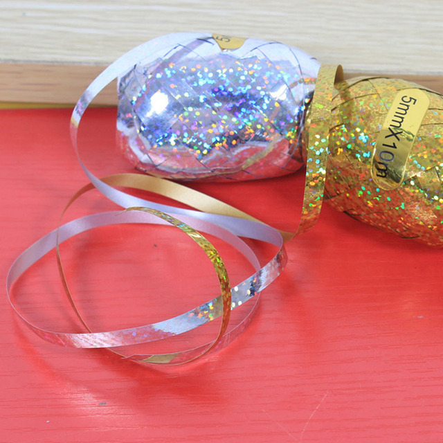 6Pcs/Set 5mm*10m Foil Helium Balloon Ribbon Wedding Birthday Party Decoration Air Balloon Gift Wrapping Tape