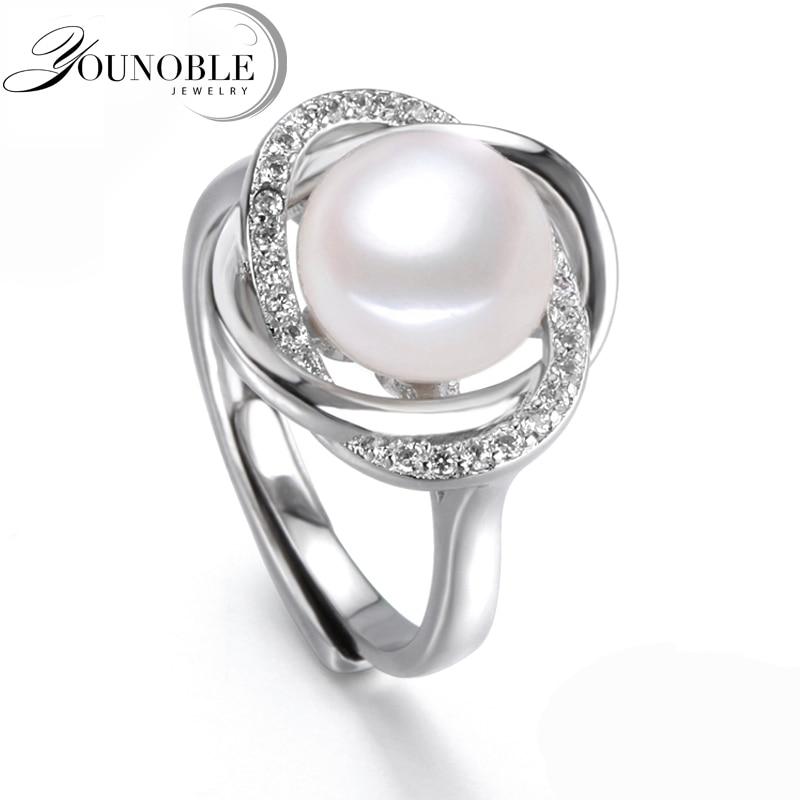 Real Freshwater Pearl Rings Women Cultured Pearl Rings 925