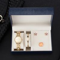 8044fe72aaed New 4 Pcs Women Bracelet Watch Set Diamond Watch Steel Bracelet Crystal  Earrings Ring With Watch. 4 piezas de las mujeres reloj pulsera ...