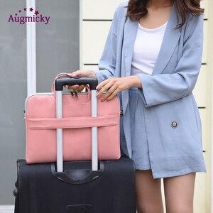 Image 2 - PU Leather women Laptop Bag Notebook Carrying Case Briefcase for Macbook Air 13.3 14 15.6 inch men Handbags shoulder Mouse Bag