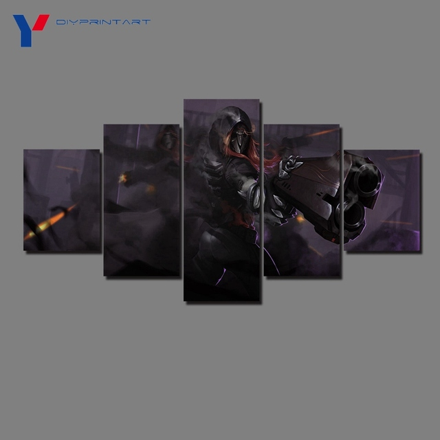 Overwatch Reaper 5 Panels Canvas Art Game Poster Canvas Pictures for Living Room A0369 1