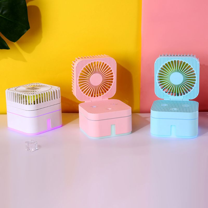 Mini Portable Cube Fan Mute Air Purification Humidifier with Colorful Atmosphere Lamp for Home Office Supplies