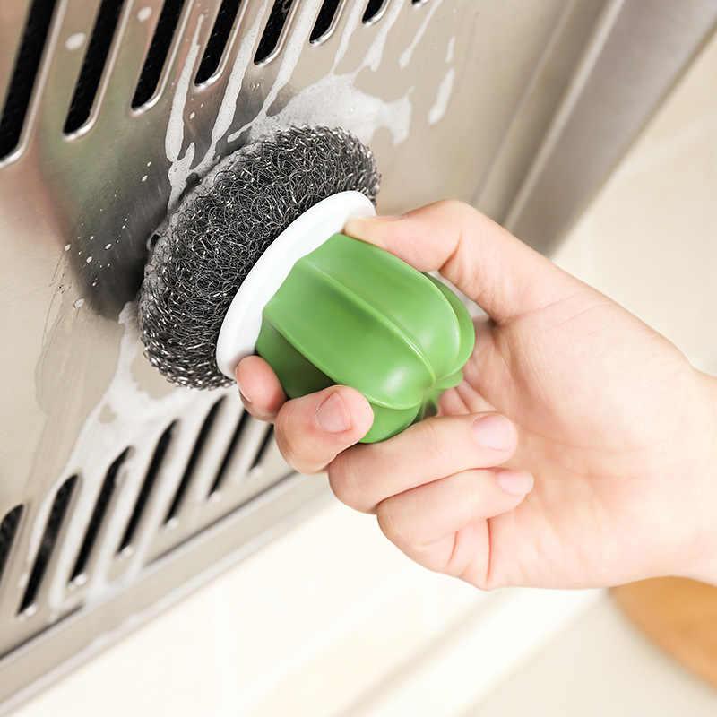 Escandinavo-Cactus xi guo shua hogar con mango de acero bola cepillo de limpieza para no dañar la mano wu shua pelota limpia