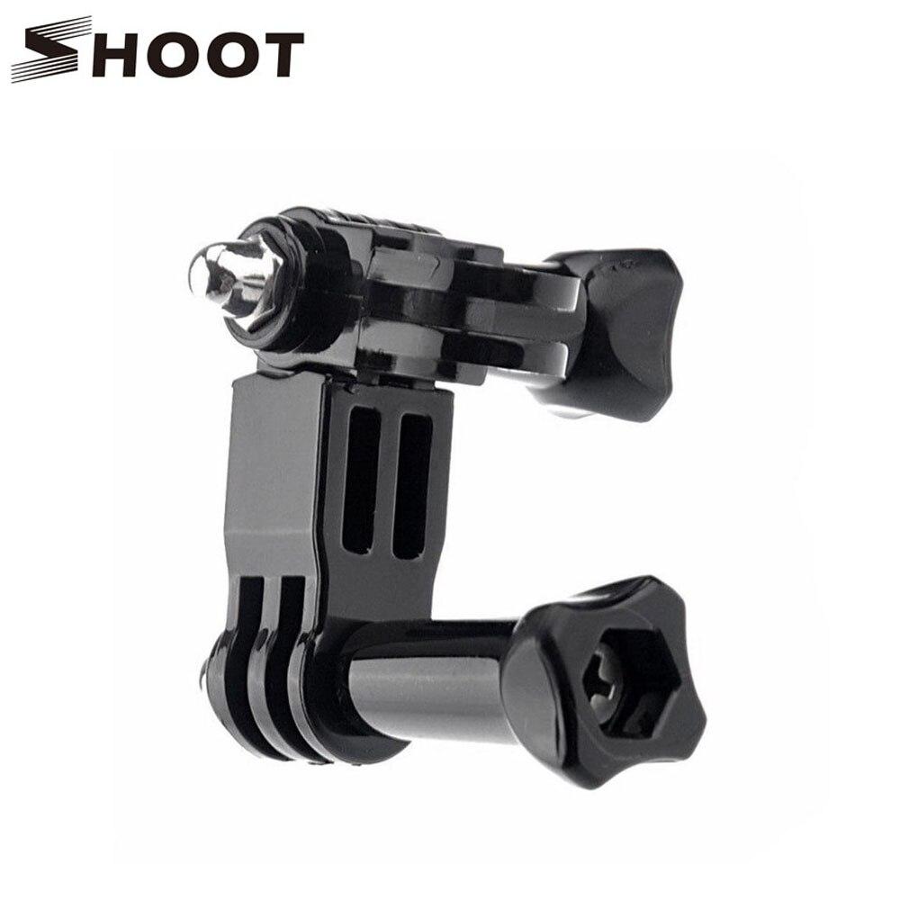 Shoot de tres vías pivot arm mount casco ajustable abrazadera para gopro hero 4