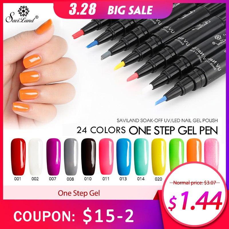 Saviland One Step Gel Nail Polish Pen Shape Long Lasting 3 In 1 UV ...