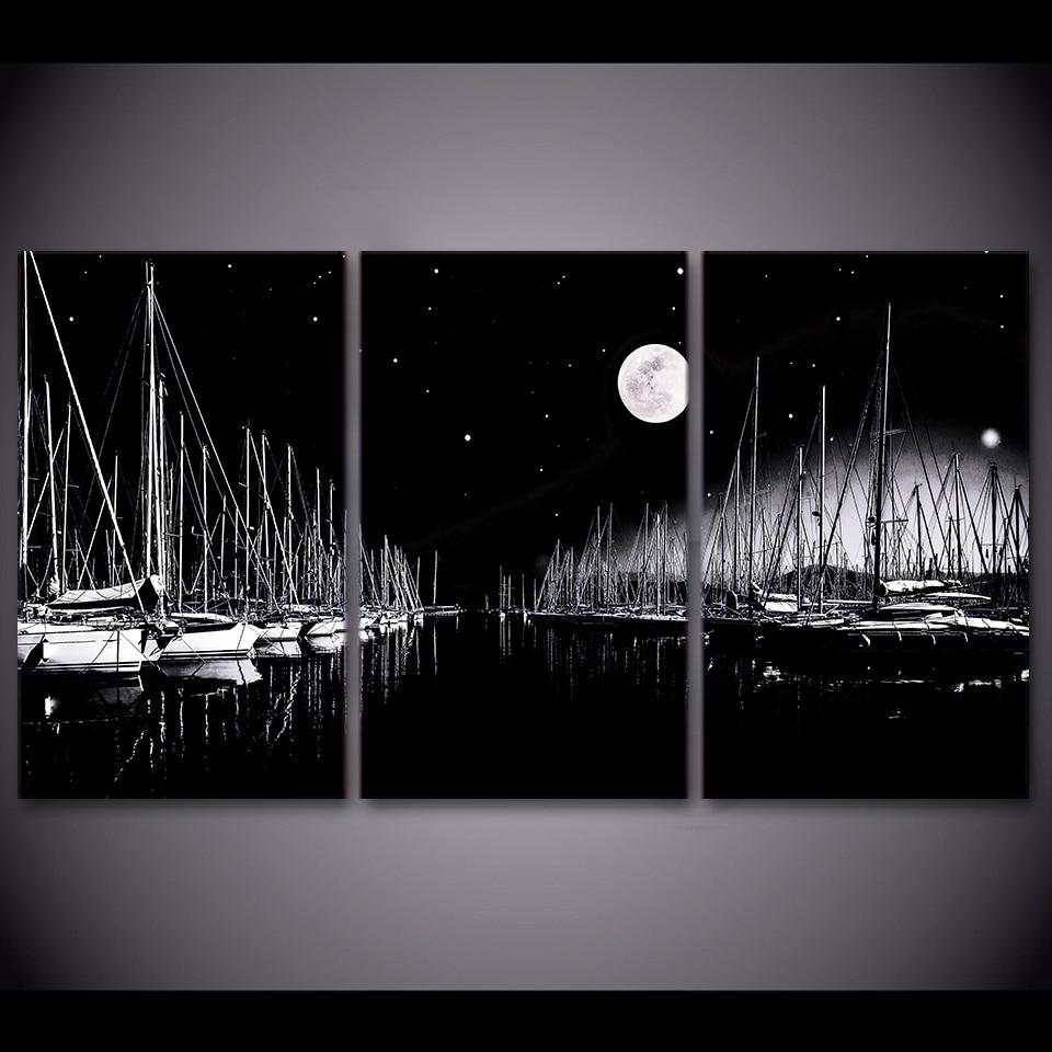3 pezzi barche a vela in bianco e nero di arte della parete quadri su tela per soggiorno camera - Decor art quadri bari ...