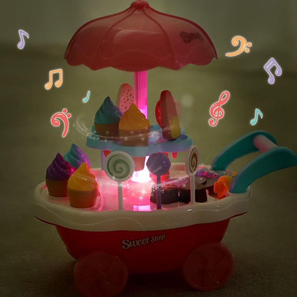 Us 1408 31 Offocday Rotary Lights Ice Cream Candy Cart Toy Educational Toy For Kids Best Gift For Children Kids Child Pretend Play Toys In Kitchen