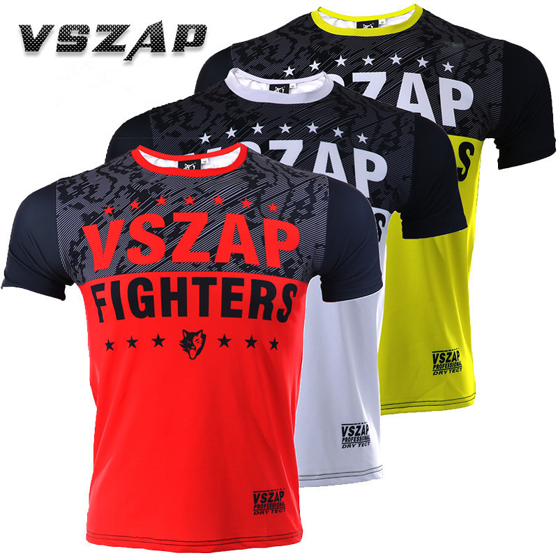 VSZAP Fighter Boxing MMA T Shirt Gym Tee Fighting Martial Arts Fitness Training Men Homme Boxe