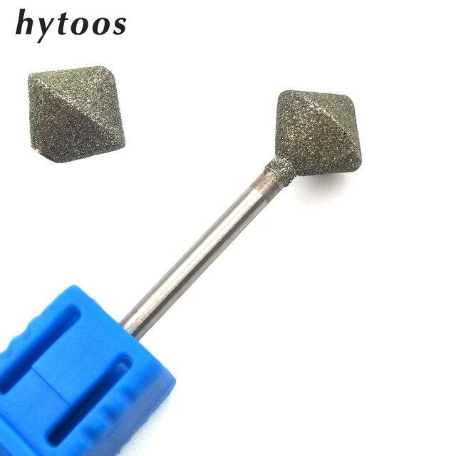 """HYTOOS 10mm Rhombus Diamond Nail Drill Bit 3/32"""" Rotary Burr Manicure Cutters Electric Drill Accessories Nail Mills Tools-D-7"""