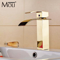 Bathroom tap gold square basin mixers golden plated water tap