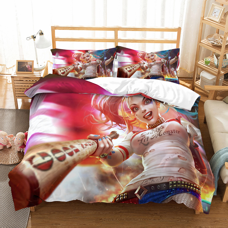 Suicide Squad Cartoon Harley Quinn 3D Bedding Set The Joker Comforter Bedding Sets Bedclothes Bed Linen Batman Spiderman