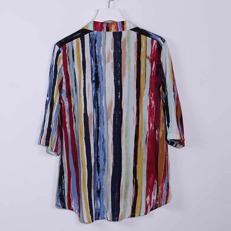 コットンリネンの女性のチュニックストライププリントシャツトッププラスサイズ V ネックフリルボタンフェミニンブラウス 2019 夏の女性のシャツトップス
