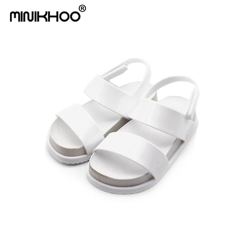 Mini Melissa Original 1:1 Girls Sandals 2018 New Girl Jelly Sandals Girls Sandals Melissa Beach Sandal 14cm-18cm Non-slip Shoes