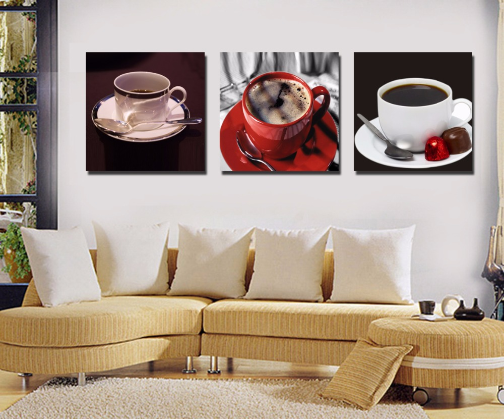 3pcs frame Coffee cup series canvas oil painting poster living room pictures on the wall Modular Print free shipping