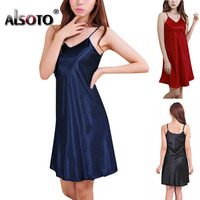 Summer Fashion Women Nightgown Sexy V Neck Sleeveless Straps Slim Solid Color Sleepwear 8 Colors Nightdress