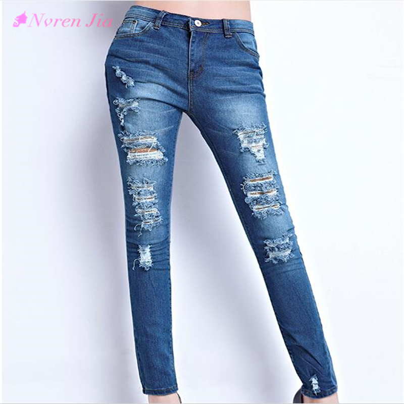 2017 Hot Fashion Ladies Cotton Denim Pants Stretch Womens Bleach Ripped Skinny Jeans Cowboy Holes Jeans For Female  rosicil hot fashion ladies cotton denim pants stretch womens bleach ripped hole knee skinny jeans denim jeans for female tps6628