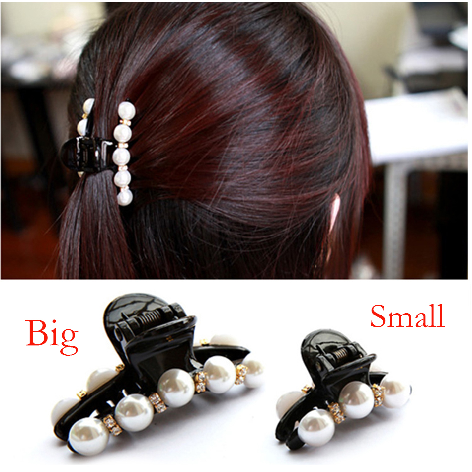 Fashion Women Bun Rhinestone Flower + Pearl Hair Claw Horsetail Hair Clip Hair Accessories Female Ponytail Headwear