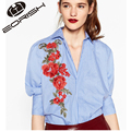 European And Amercian Style 2017 New Floral Embroidery Blouses Long Striped Blue Shirts and Tops Three Quatar Sleeve V-neck