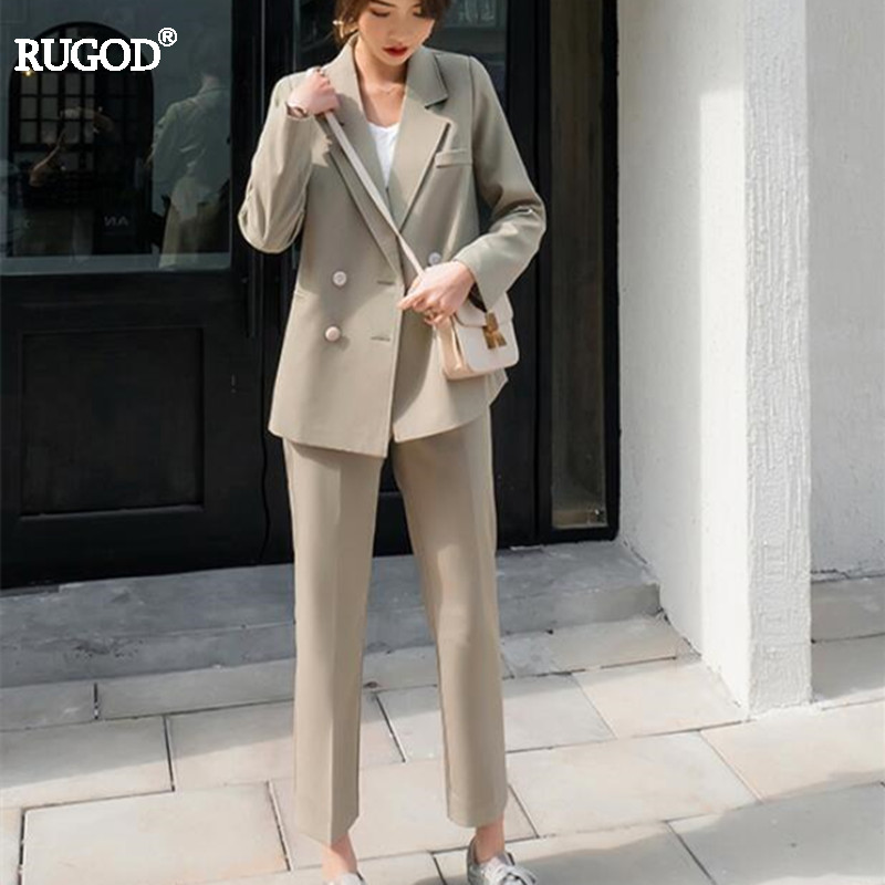 RUGOD 2019 Vintage Elegant OL Suits Women Fashion Double Breasted Blazer+ Ankle Length Pant Suits Female 2 Two Piece Set Autumn